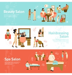 People In Beauty And Spa Salon Horizontal Banners vector image