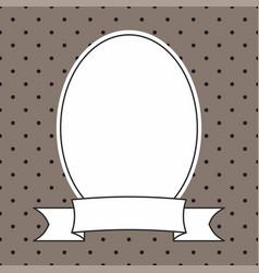 photo frame and black polka dots on brown vector image