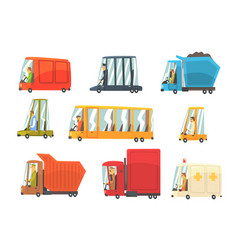Public and personal transport toy cars and trucks vector