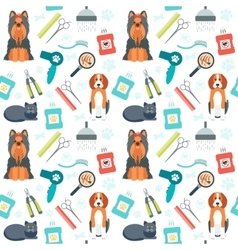 Seamless pattern Grooming for animals Pet care vector image