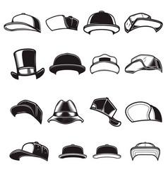 set baseball caps design element for logo vector image