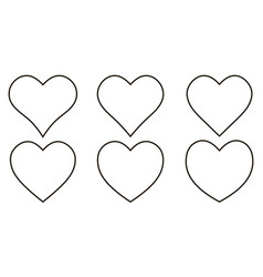 set contour heart icon set heart shape vector image