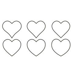 set contour heart icon set heart shape vector image