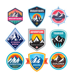 set of adventure outdoor concept badges summer vector image