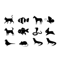 Set of animal icons in silhouette style vector