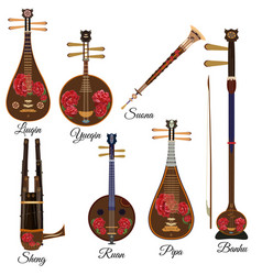 set of chinese musical instruments vector image