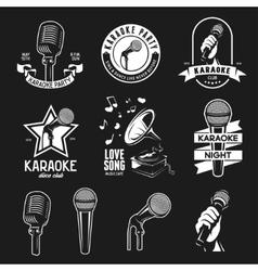 Set of karaoke related vintage labels badges vector