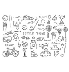 set sport elements with lettering funny doodle vector image