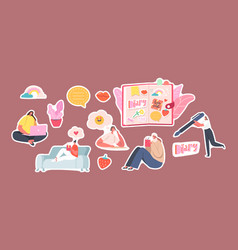 set stickers girls writing memoirs into cute vector image