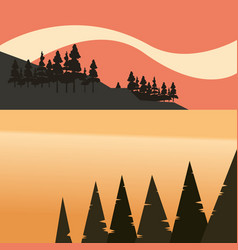 Shore bay trees forest lake natural landscape vector
