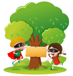 sign template with two kids in hero outfit vector image