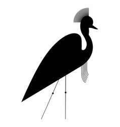 Silhouette of the crowned crane vector
