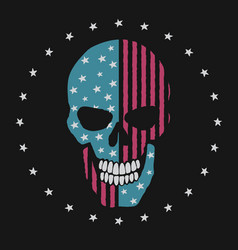 Skull like the american flag vector