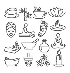 spa line icons set on white background vector image