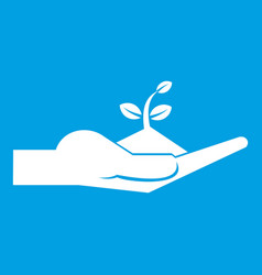 Sprout in the human hand icon white vector