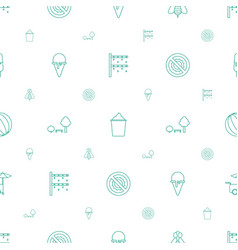 Summer icons pattern seamless white background vector