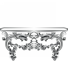 Table furniture with detailed ornaments vector image