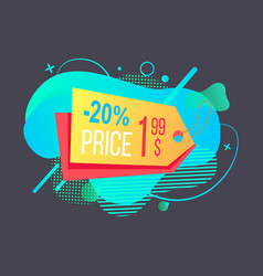 Tag with discount and price colorful label vector