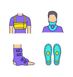 Trauma treatment color icons set vector