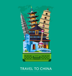 Travel to china banner with famous buildings vector