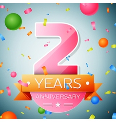 Two years anniversary celebration background vector image