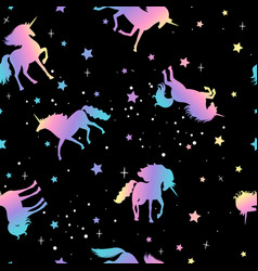 unicorn and star silhouettes pattern vector image