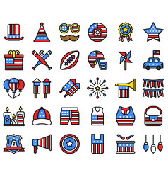 United state independence day filled icon set 2 vector