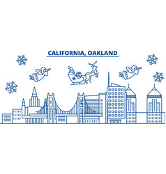 Usa florida oakland winter city skyline merry vector