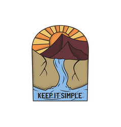vintage camp patch logo mountain life badge hand vector image