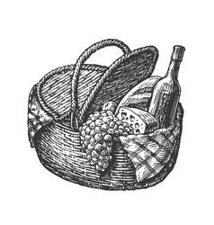 vintage wicker picnic hamper or basket with food vector image