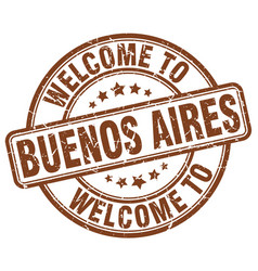 Welcome to buenos aires brown round vintage stamp vector