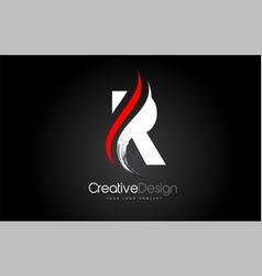 white and red r letter design brush paint stroke vector image