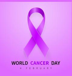 world cancer day symbol 4 february ribbon symbol vector image