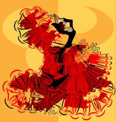 abstract yellow image of flamenco vector image