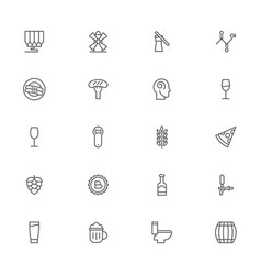 beer pixel perfect outline icons modern style for vector image vector image