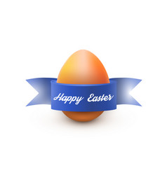 easter egg with blue ribbon isolated on white vector image