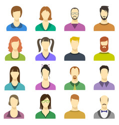 male and female faces icons human persons vector image