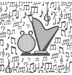 music background with harps and notes vector image vector image