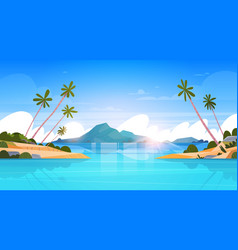 beautiful seaside landscape summer beach with vector image vector image