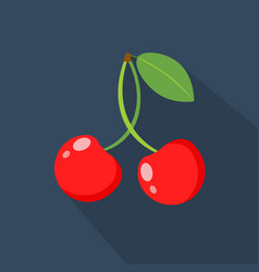 cherry cartoon flat icondark blue background vector image vector image