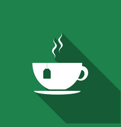 cup with tea bag icon isolated with long shadow vector image