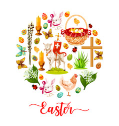 easter round poster with holiday symbols vector image vector image