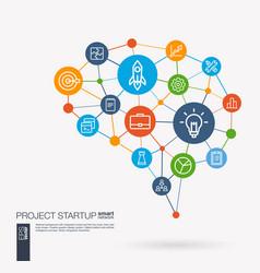 startup web development light bulb rocket vector image vector image
