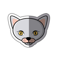 sticker grey shading picture face cute cat animal vector image vector image