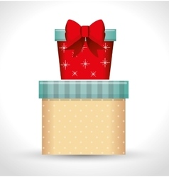 big gift box and small gift red bow white vector image vector image