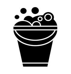 bucket with soap foam icon vector image vector image