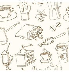 Hand drawn coffee seamless pattern with vector image vector image