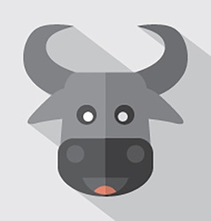 Modern Flat Design Buffalo Icon vector image