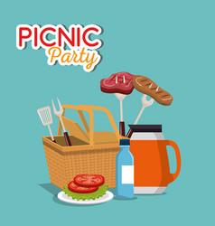 Picnic party invitation set icons vector