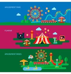 Amusement Park Banners Set vector image vector image